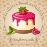 Raspberry cake emblem Stock Image