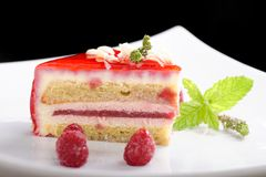 Raspberry cake / fine dining Stock Photos