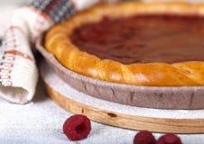 Raspberry cake and fresh raspberries. Fresh raspberry pie, tasty filling, fresh raspberries Stock Photo