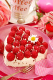 Raspberry cake in heart shape Stock Photo