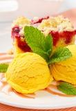 Raspberry cake with ice-cream Stock Photos