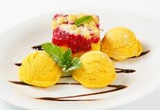Raspberry cake with ice-cream Royalty Free Stock Photos