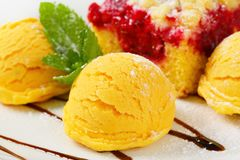 Raspberry cake with ice-cream Royalty Free Stock Images