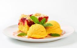 Raspberry cake with ice-cream Stock Photography