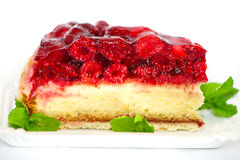 Raspberry cake with mint leaves Stock Photo
