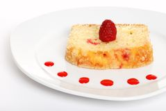 Raspberry cake on a plate Stock Photos
