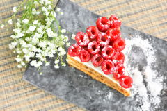 Raspberry Cake on plate. Delicious Raspberry Cake on plate and white flowers Stock Photos