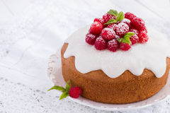 Raspberry cake with sugar icing Stock Photography