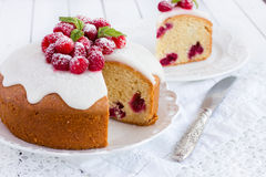 Raspberry cake with sugar icing Royalty Free Stock Photography