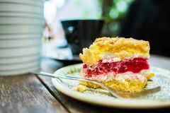 Raspberry Cake on a Table Stock Photography