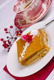 Raspberry cake and tea Royalty Free Stock Images