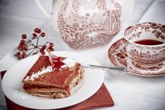 Raspberry cake and tea Stock Images