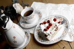 Raspberry cake and tea Royalty Free Stock Image
