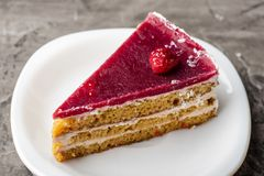 Raspberry cake with white chocolate on a plate. Delicious dessert 1 Royalty Free Stock Photo