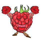 Raspberry cartoon character Stock Image