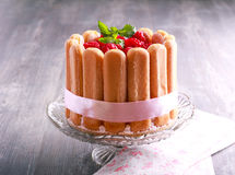 Raspberry charlotte cake served Royalty Free Stock Photography