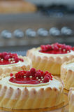 Raspberry Charlotte Cakes. Home baked charlotte cakes decorated with raspberries, currants and white chocolate. Shallow depth of focus. Kitchen background Royalty Free Stock Photo