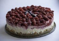Raspberry cheese cake on white background Royalty Free Stock Photo
