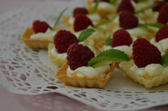 Raspberry and cheese yummy desert with a lief of mint Stock Photos