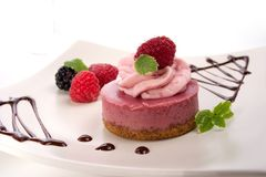 Raspberry cheesecake Stock Photos