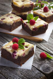Raspberry cheesecake brownies Stock Images