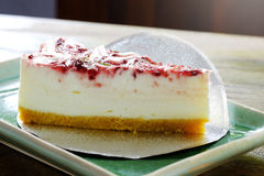 Raspberry cheesecake in the dish Royalty Free Stock Images