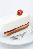 Raspberry cheesecake. Fresh raspberry cheesecake on white plate Stock Photography