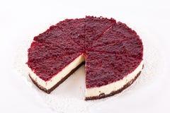 Raspberry cheesecake isolated. On white Stock Photo