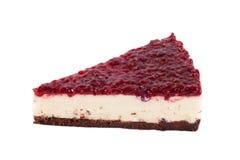 Raspberry cheesecake isolated. On white Stock Photos