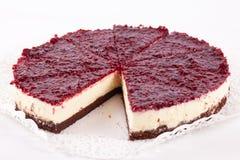 Raspberry cheesecake isolated. On white Royalty Free Stock Photo