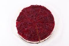 Raspberry cheesecake isolated. On white Royalty Free Stock Photos