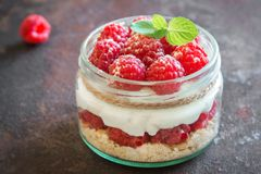 Raspberry cheesecake in  jar Stock Photography