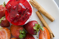 Raspberry cheesecake on plate Royalty Free Stock Image