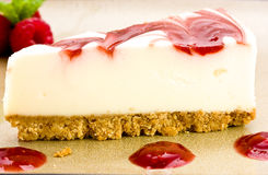 Raspberry Cheesecake with raspberries mint. Stock Photography