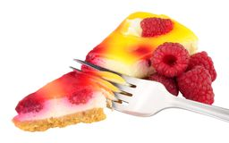 Raspberry Cheesecake Slice Royalty Free Stock Images
