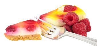 Raspberry Cheesecake Slice Stock Photos