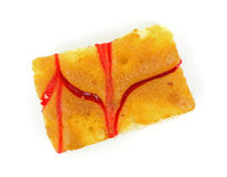 Raspberry Cheesecake Slice Overhead View Royalty Free Stock Image