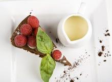 Raspberry cheesecake with vanilla. Garnish Royalty Free Stock Image