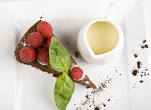 Raspberry cheesecake with vanilla royalty free stock image