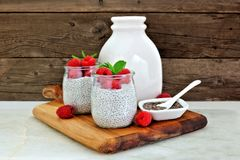 Raspberry chia pudding. Still life on a server. Royalty Free Stock Images