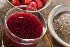 Raspberry and Chia Seed Beverage Stock Photo