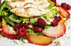 Raspberry chicken salad with feta cheese Stock Photo