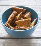 Raspberry chip cookies in blue bowl Royalty Free Stock Photos