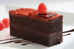 Raspberry chocolate cake stock photography