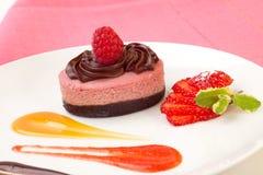 Raspberry chocolate cheesecake stock image