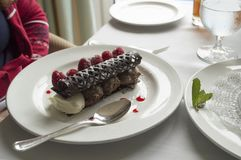 The raspberry and chocolate dessert stock photography