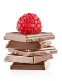 Raspberry and chocolate. Fresh raspberries on a few pieces of chocolate Stock Images