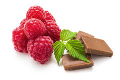 Raspberry , Chocolate and green leaf on white Royalty Free Stock Image