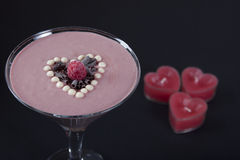 Raspberry - chocolate smoothie Royalty Free Stock Images