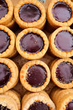 Raspberry Chocolate Tart. S in a wooden box Stock Photography